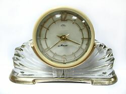 VINTAGE USSR Desktop CLOCK MAYAK Table Glass Soviet Union