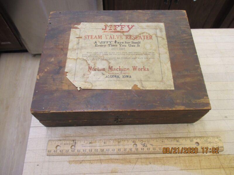 Vintage Norton Machine Works Steam Valve Reseater Set Tool, Wood Box, Price List