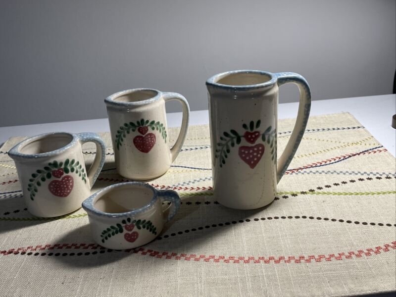 Set Of 4 Ceramic Hand Painted Measuring Cups With Handles. 1, 3/4, 1/2, 1/4 Cups