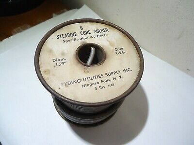 Vintage Stearine Core Solder At 7241 Diam. .159 Core 1-2 5 Pounds Niagara Falls