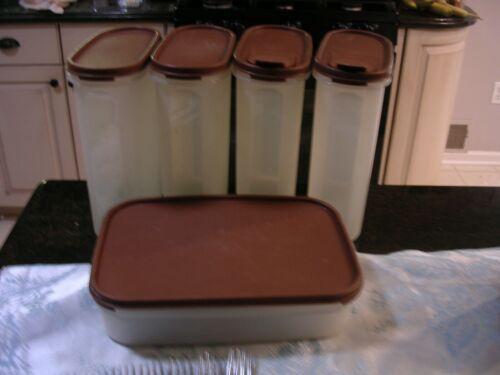 #A  10 piece TUPPERWARE Modular Mates Brown Pantry Storage Set 1614,1608