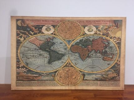 Professionally framed old world map artwork art gumtree old world map large canvas picture gumiabroncs Gallery