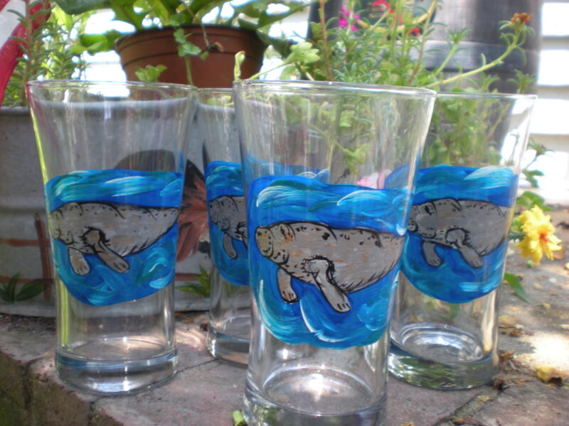 HAND PAINTED MANATEES 15 OUNCE  TUMBLER/COOLERS SET OF 4/MADE IN THE USA