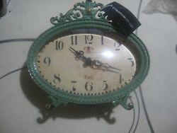New! Creative Co-op Aqua Pewter Mantle Clock-61/2Lx2Wx61/4H