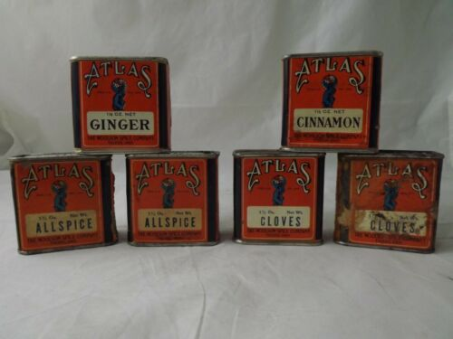 RARE Vintage Atlas Spice Cardboard 6 Tin Lot The Woolson Spice Co Toledo Oh