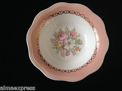 French Saxon Dusty Rose China Pink Coral Band & Floral 5-3/8
