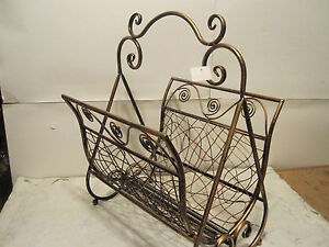 Gold Copper Wrought Iron / Matel Magazine / News Paper Foldable Rack Holder