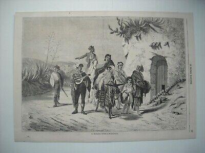 GRAVURE 1863. LES BOHEMIENS. D'APRES TABLEAU DE M. ACHILLE ZO. EXPLICATIF AU DOS