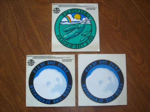 Set of Three Vintage GREENPEACE Decals - Save The Whales, Save The Seals - NEW