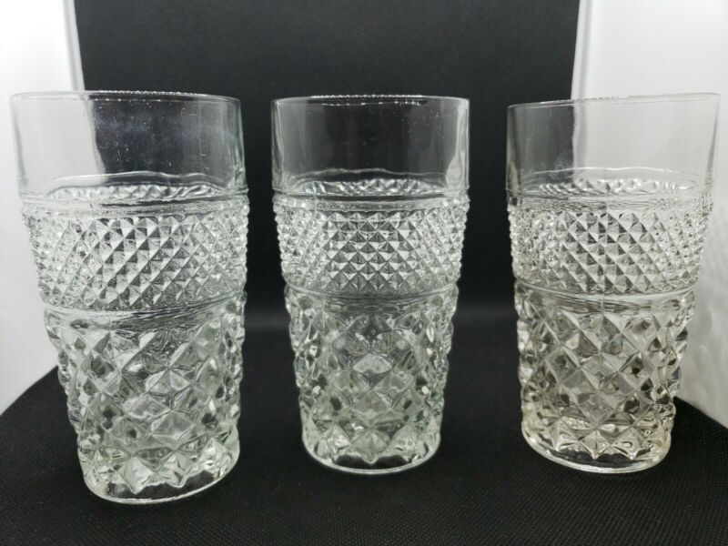 6 Vintage Anchor Hocking Wexford 10 oz  Pressed Glass  Water Tea Tumblers...