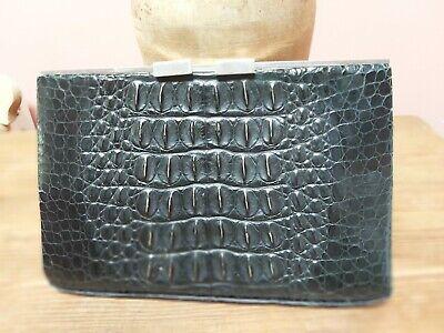 1940s Handbags and Purses History VINTAGE CROCODILE BLACK ART DECO LEATHER CLUTCH BAG ORIGINAL 1930s /1940s $117.03 AT vintagedancer.com