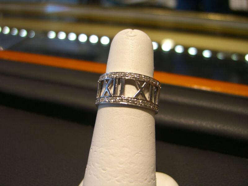 Womens Fine 18 Karat White Gold Roman Numeral Diamond Ring 1.00 Carat New Wow!