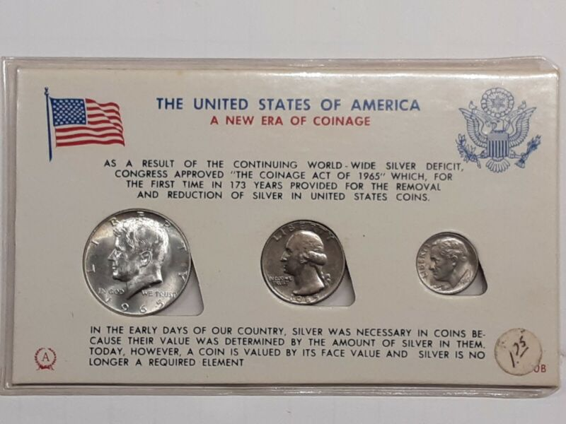 """""""NEW ERA OF COINAGE""""  1965 - 3 COINS ANCO? 1200B HOLDER 40% SILVER KENNEDY"""