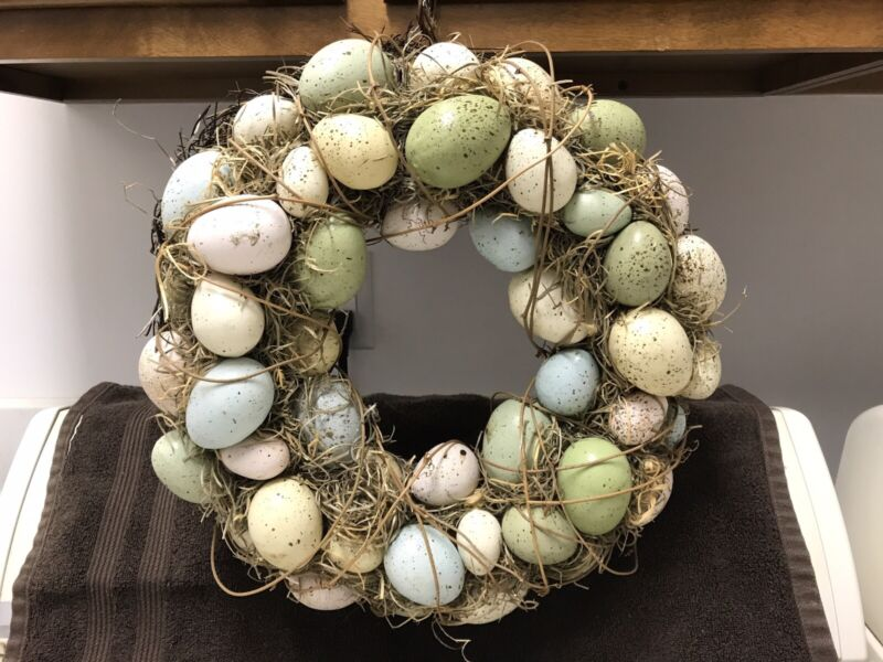 Pretty, Colorful Distressed Easter Egg Door Wreath Primitive?