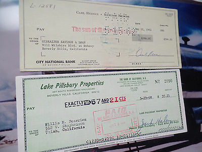 Carl REiNER auto 95 HBO Jack Haley LOT Pair hand SIGNED check autographed