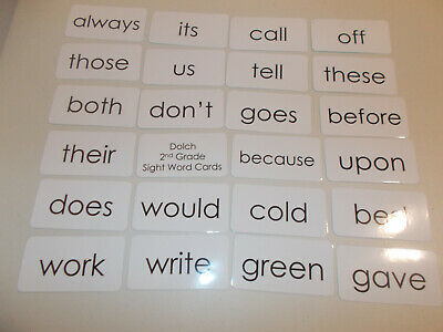 1 full laminated set of Dolch Second Grade sight word flash cards. 46 cards (2nd Grade Dolch Sight Words Flash Cards)