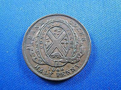 Bank Of Montreal Canada 1844 Half Penny Bank Token    Sk14