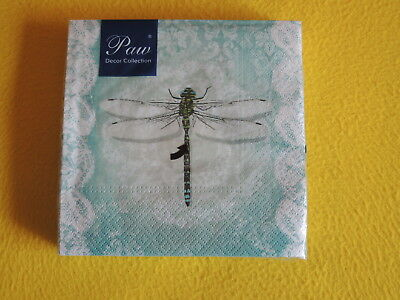 Dragonfly Serviette (20 Servietten ROMANTIC DRAGONFLY Libellen filigran Ornamente Muster 1 Packung OV)