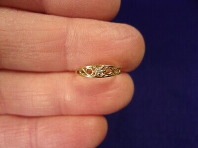 10k Gold Diamond Solitaire Ring - EXCELLENT LITTLE YOUNG GIRLS 10K YELLOW GOLD DIAMOND SOLITAIRE TAPERED BAND RING