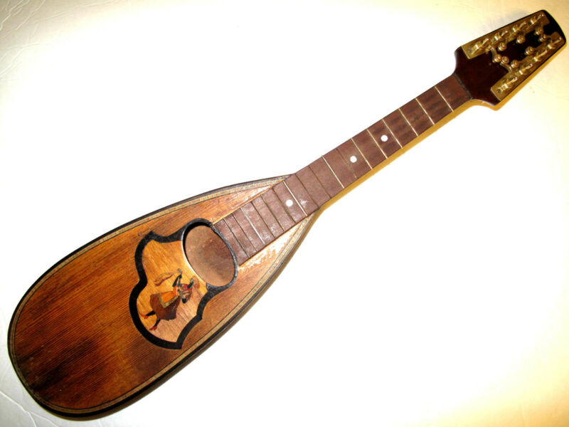 Antique PICCOLO Pocket  Mando Mandolin w/ Rare RICHTER Tuners Lute Lady  Inlay