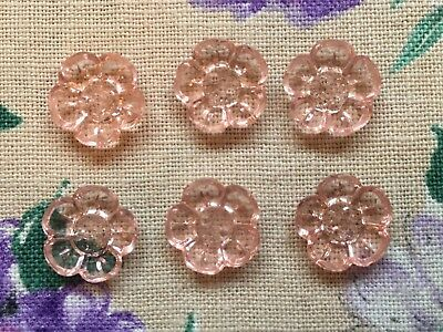 Six pretty vintage 40's 50's light pink glass flower shaped buttons - 12mm