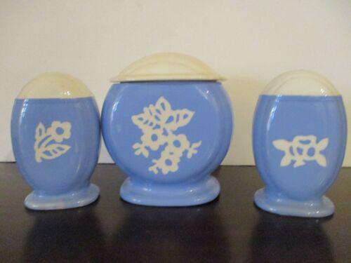 Harker Pottery Range Set Grease Jar w/Lid Salt & Pepper Cameoware Blue & White