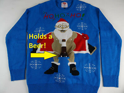 Men's Ugly Christmas Sweater Holds a Beer Holder Santa Flashing Holiday New