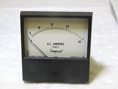 Simpson Analog Panel Meter Ac Current 0a To 25aac Range 3 L X 3 H 17702 Usa