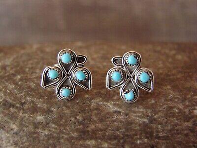Zuni Sterling Silver 4 Stone Turquoise Post Earrings! H. Lastyano