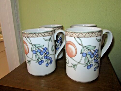 """Set 4 Dansk Umbrian Fruits 4"""" Coffee Mugs Cups Made in Portugal"""