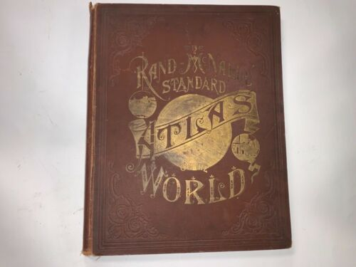 "Original 1889 Rand McNally Standard World Atlas book 11""x14"""