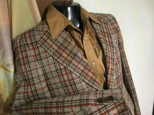 Vintage 70s SEWELL Brown Rust Orange LEISURE SUIT JACKET blazer mens 38R M disco