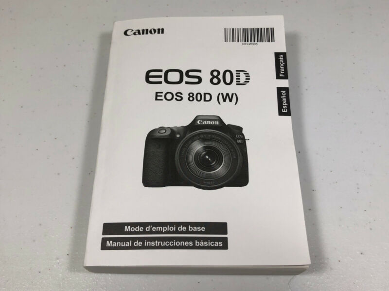 Spanish and French Basic Instruction Manual Book for Canon EOS 80D (W)