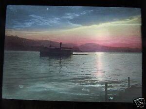COLOUR-Glass-Magic-lantern-slide-LUCERNE-LAKE-SUNSET-C1890-SWITZERLAND