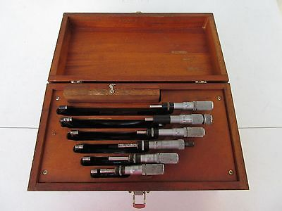 Vintage Starrett Outside Micrometer Set 436 Wood Finger Joint Box 0-6 Lufkin