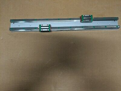 Lot Of 2 Hiwin Linear Quick Rails Blocks Mounted On 12 Aluminum Plate
