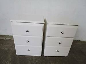 C50050 Pair White Timber 3 Drawer Bedside Tables Mount Barker Mount Barker Area Preview