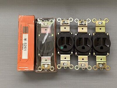*NOS Eagle 817 15A 125V Brown Parallel Grounding Single Receptacle FREE SHIPPING