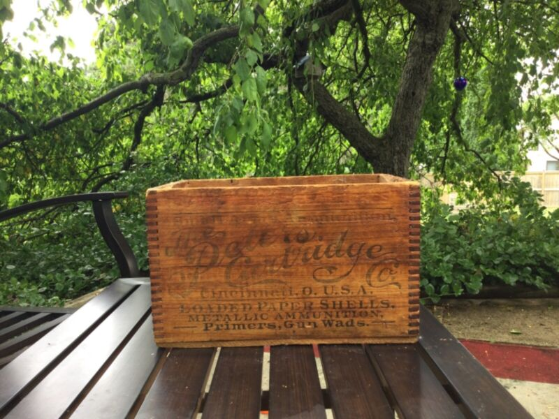 Antique Peters Cartridge ammunition wooden box rare dovetail small arms ammo