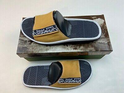 Timberland Men's Wheat Leather Athletic Slides Sandals Flip Flops Size 11M/12M