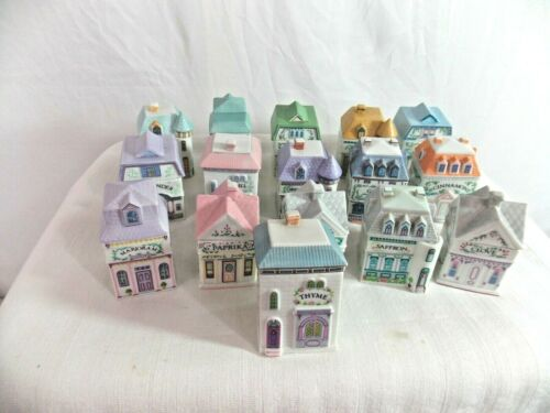 Lenox Porcelain Spice Village Victorian House Jar Set 16 Pieces -1989