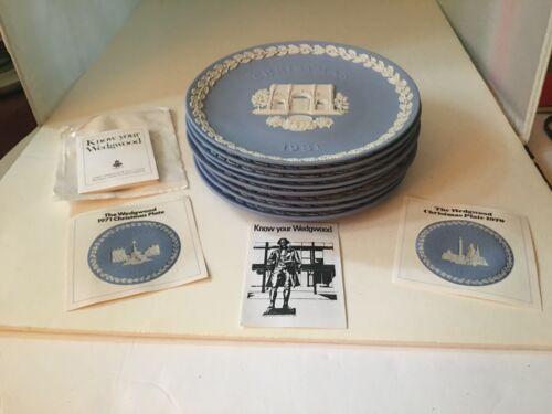 ( 8 )WEDGWOOD CHRISTMAS PLATES 1970, 71, 72, 74, 75, 79, 80, 81. Blue and white