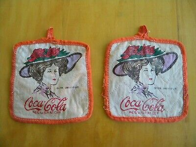 Two Vintage Coca Cola Pot Holders / Oven Mitts