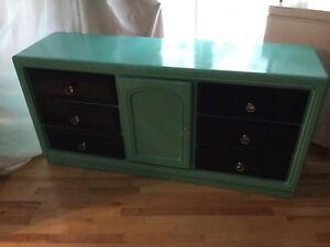 Teal & navy blue long dresser