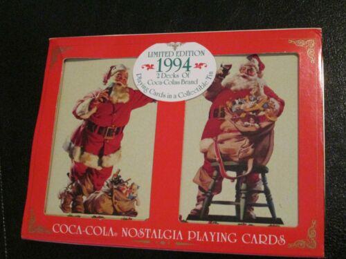 NEW Vintage 1994 Coca-Cola Christmas Playing Cards Santa Claus Coke w/ TIN