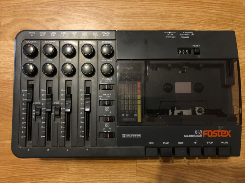 Fostex X-18 Vintage Analog Cassette 4-Track Multitrack Recorder TESTED