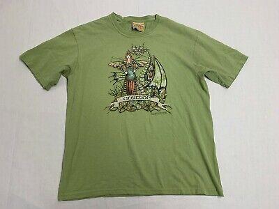 The Mountain Brand Mens XL Shirt Fairy Dragon Print T Shirt Green EUC