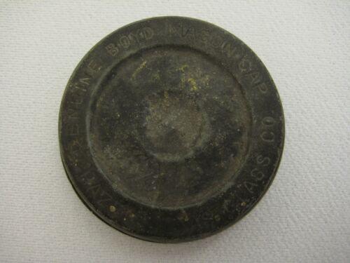 Antique Genuine Boyd Mason Cap Hazel Atlas Glass Co. Zinc Lid - RARE