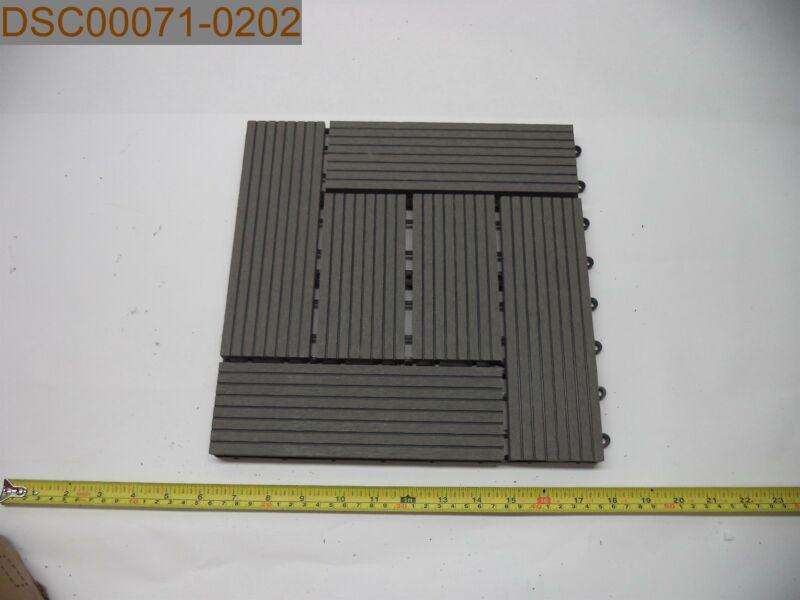 "QTY = 11: Helios Deck Tiles-6 Slats, Grey, 12"" x 12"""