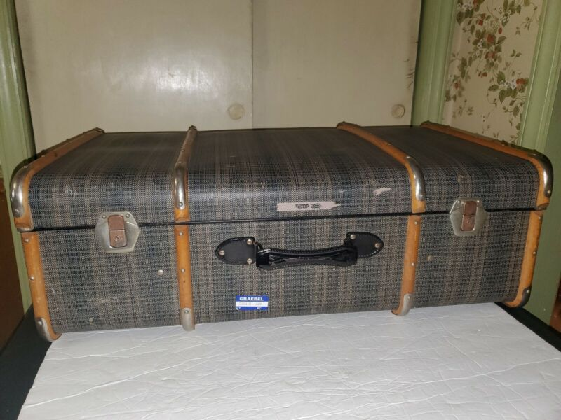 """Antique Bentwood Luggage Steamer Travel Trunk Storage Chest Blanket Box 31"""" Long"""